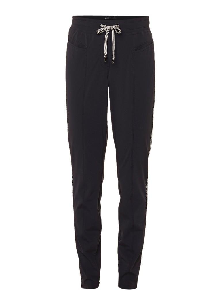 Expresso Diana loose fit broek met trekkoord en contrastbiezen zwart