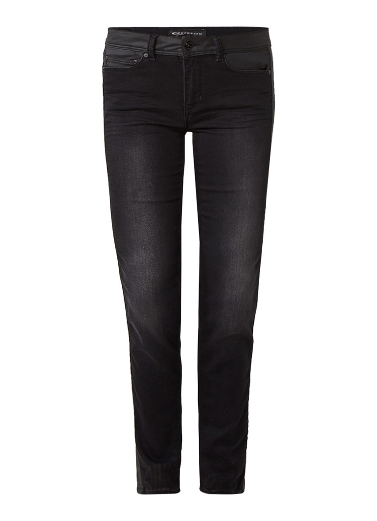 Expresso Maralyn mid rise skinny jeans met coated details