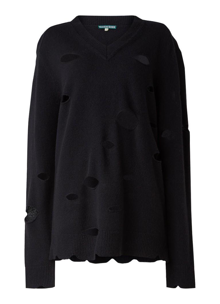 Truien en vesten ALEXACHUNG Oversized trui van wol met opengewerkt patroon Zwart