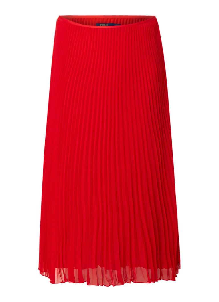Ralph Lauren Midirok van crêpe met plissé rood