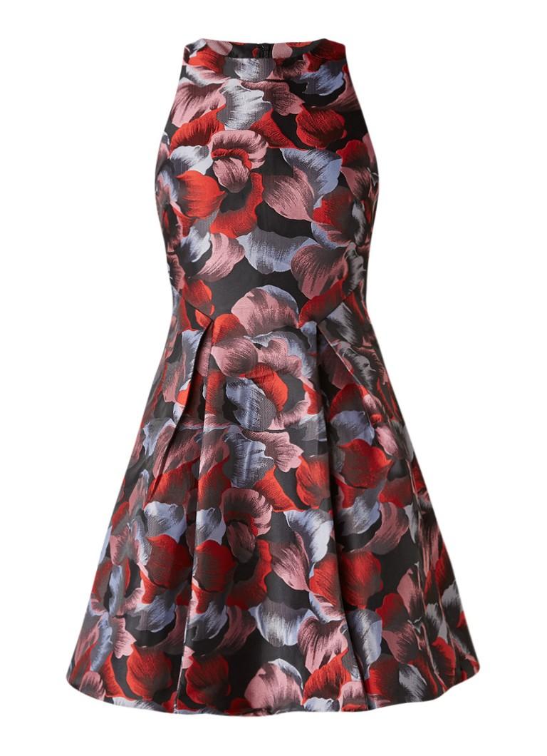 WE Fashion Bella jacquard A-lijn jurk met bloemendessin