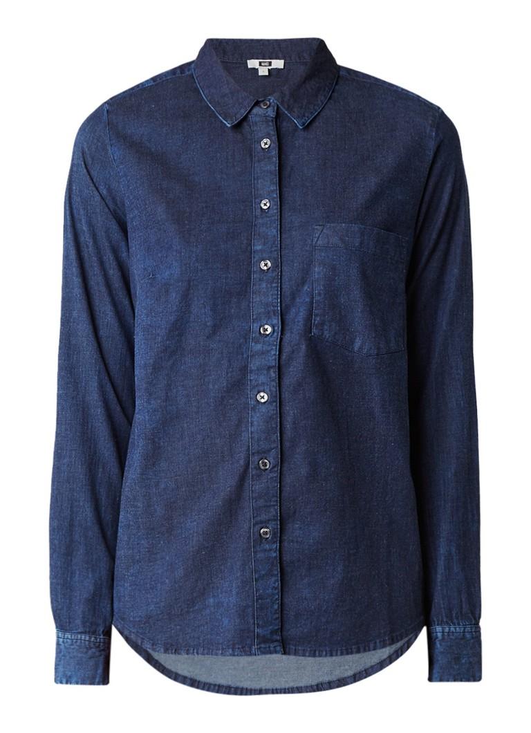 WE Fashion Mick denim blouse met borstzak en stretch