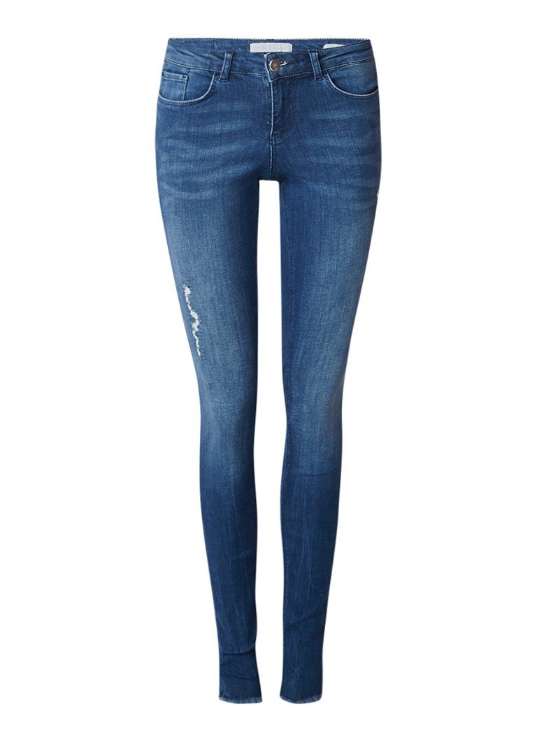WE Fashion Jackie mid rise super skinny fit jeans met destroyed details
