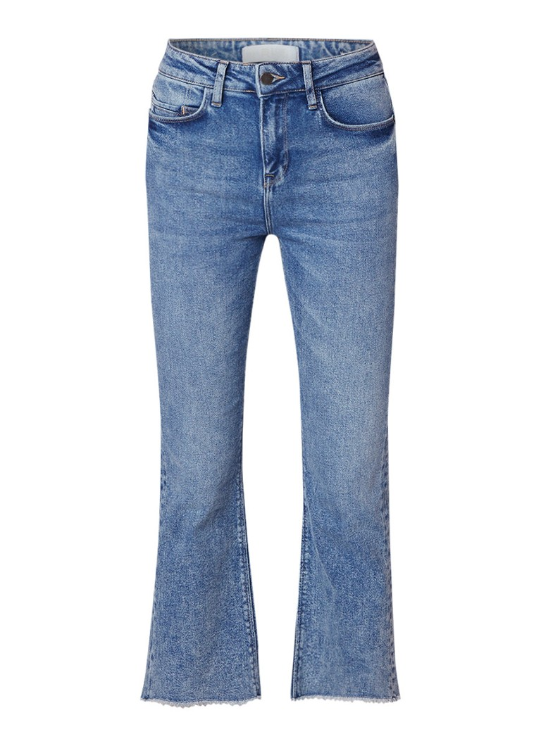 WE Fashion Blue Ridge Laurel flared cropped jeans met gerafelde zoom