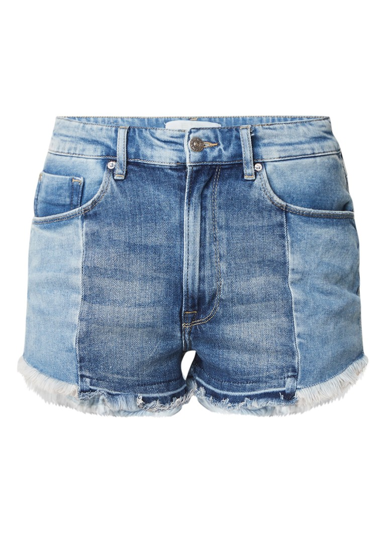 WE Fashion Drew high rise shorts van denim met gerafelde zoom