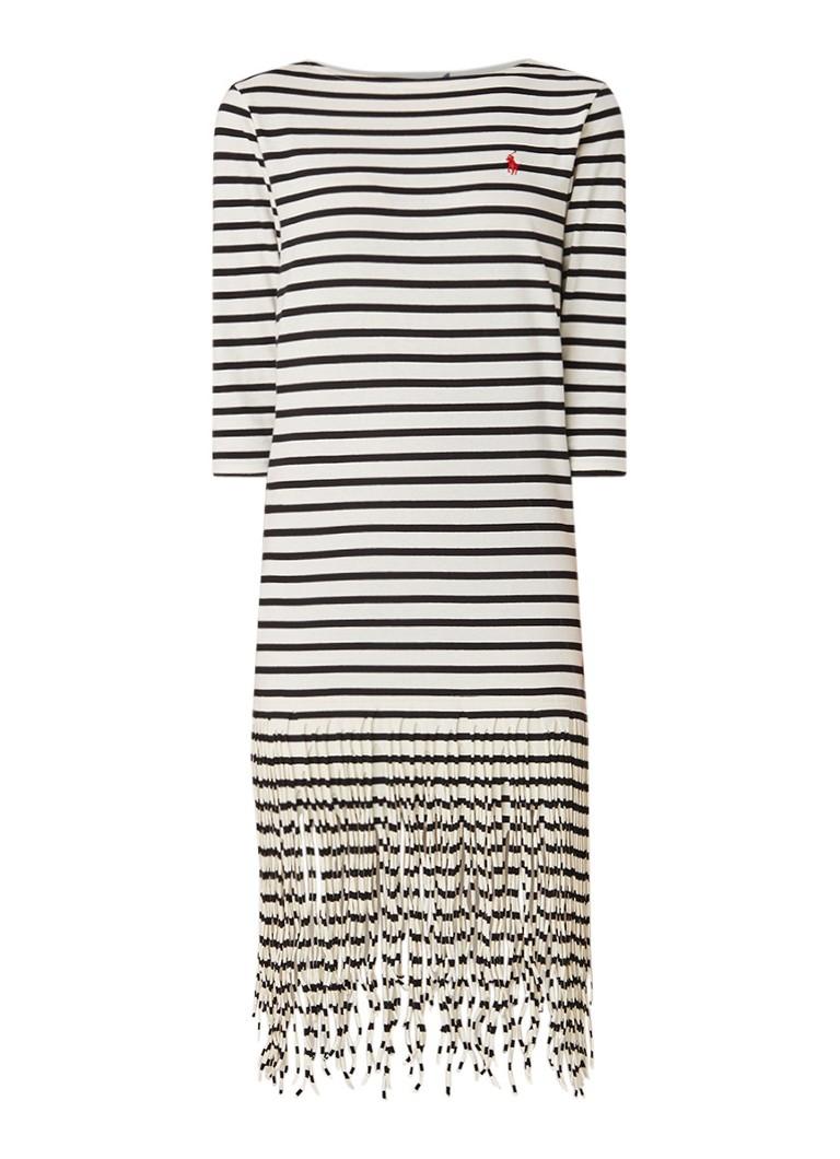 Ralph Lauren Midi-jurk met streepdessin en franjes zwart