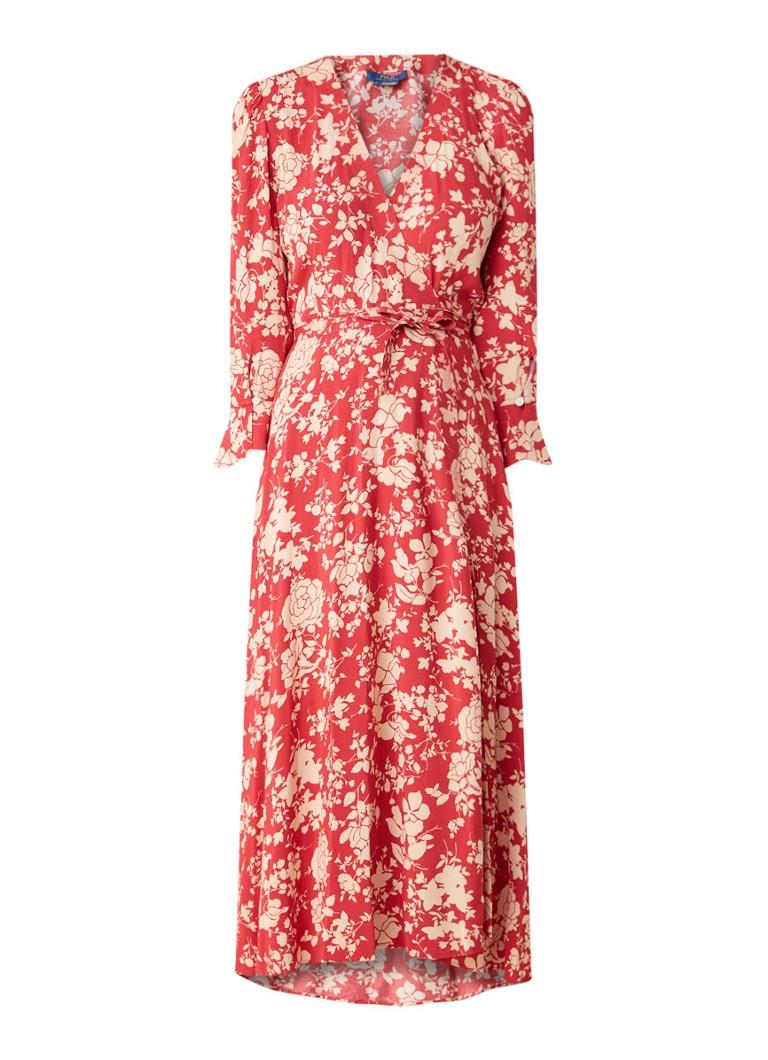 Ralph Lauren Wikkeljurk met bloemendessin en volant rood