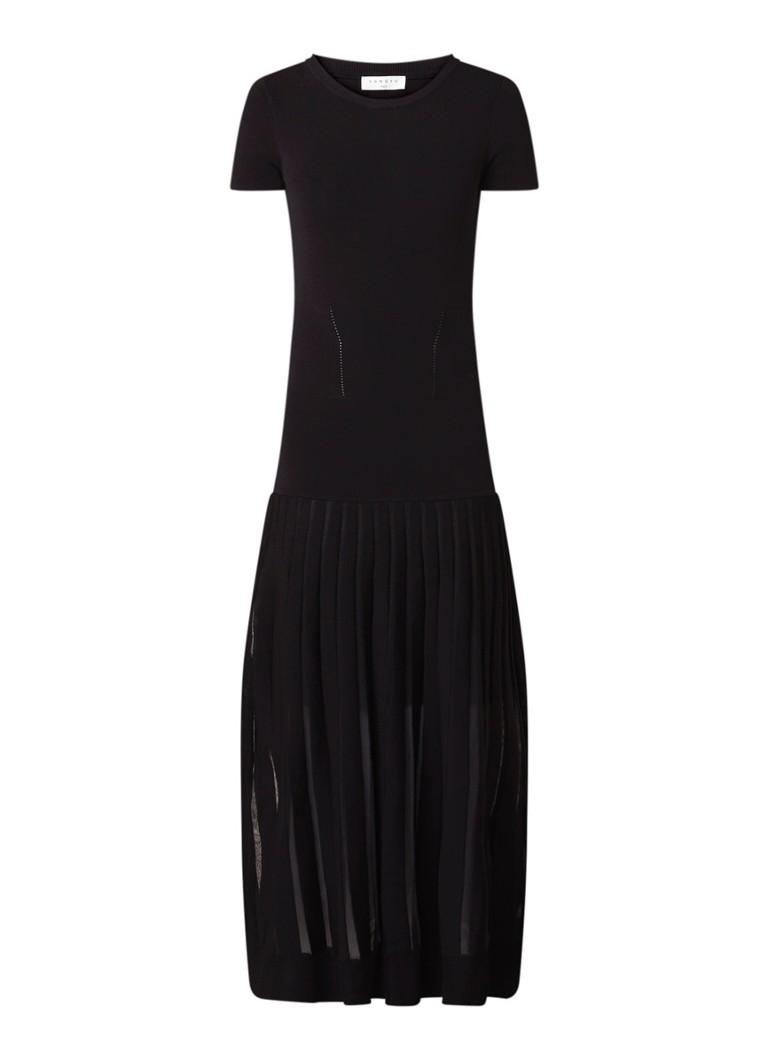 Sandro Maxi A-lijn jurk van jersey met semi-transparante plissé zwart