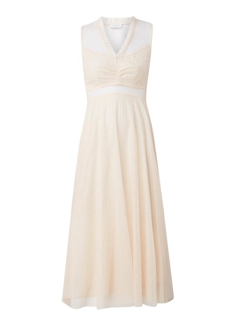 Sandro Mouwloze midi-jurk met overlay en V-hals lichtroze