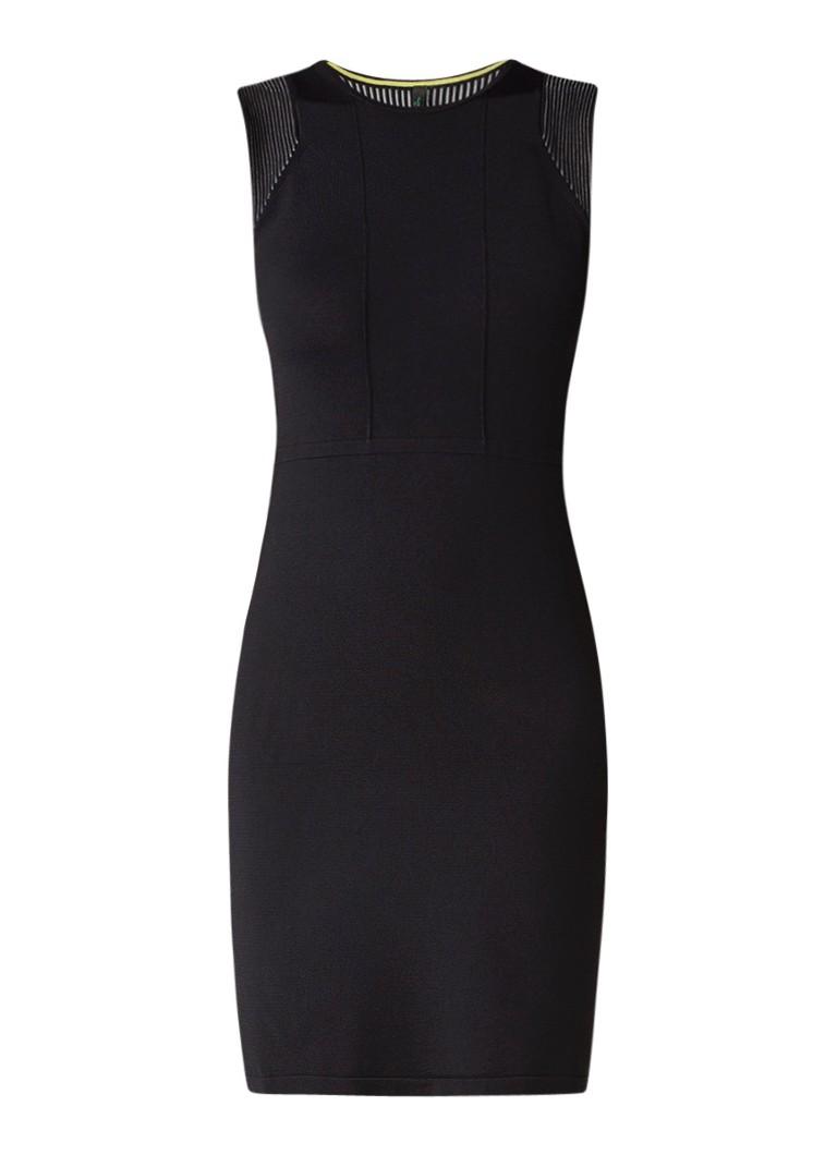Benetton Mouwloze jurk met stretch en siernaden zwart