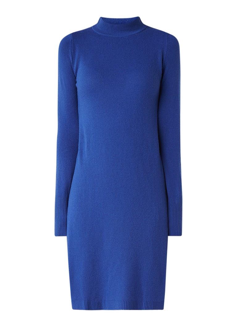 Benetton FIjngebreide jurk van scheerwol met col middengrijs