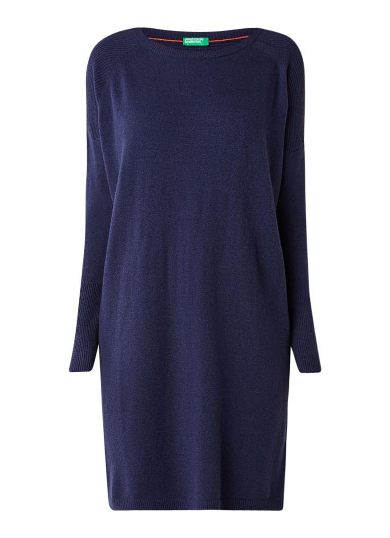 Benetton Oversized gebreide jurk in mohairblend zwart