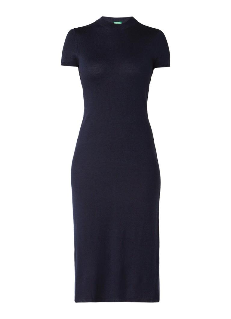Benetton Fijngebreide midi-jurk met korte mouw donkerblauw