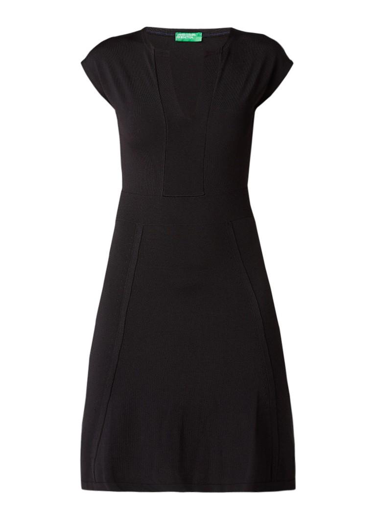 Benetton A-lijn jurk met V-hals en stretch zwart