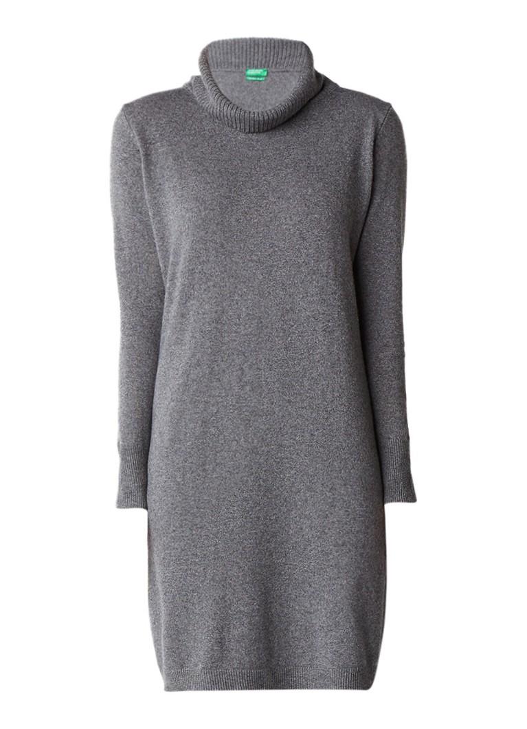 Benetton Fijngebreide midi-jurk in kasjmierblend grijsmele