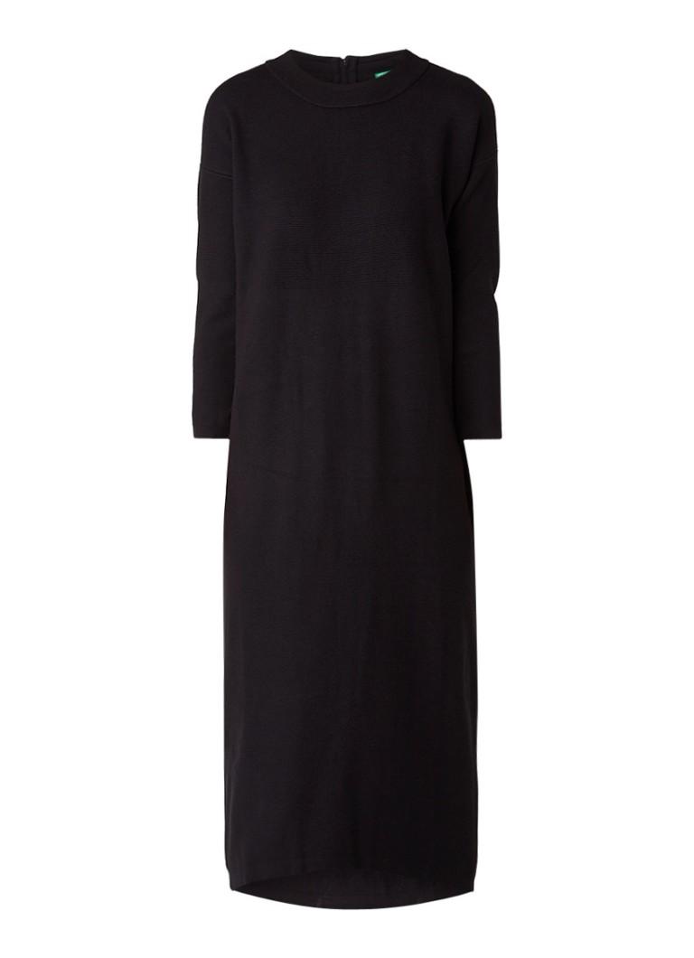 Benetton Ribgebreide jurk met contrasterende ritssluiting zwart