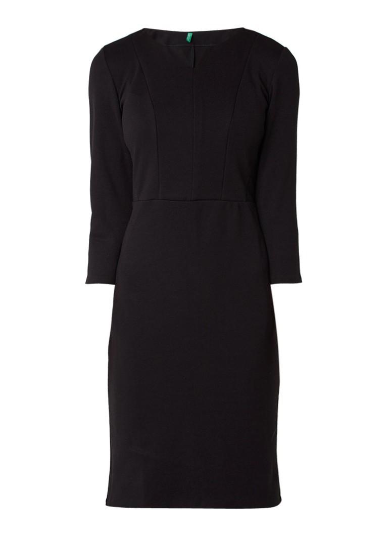 Benetton Ben midi jurk van jersey met deelnaden zwart