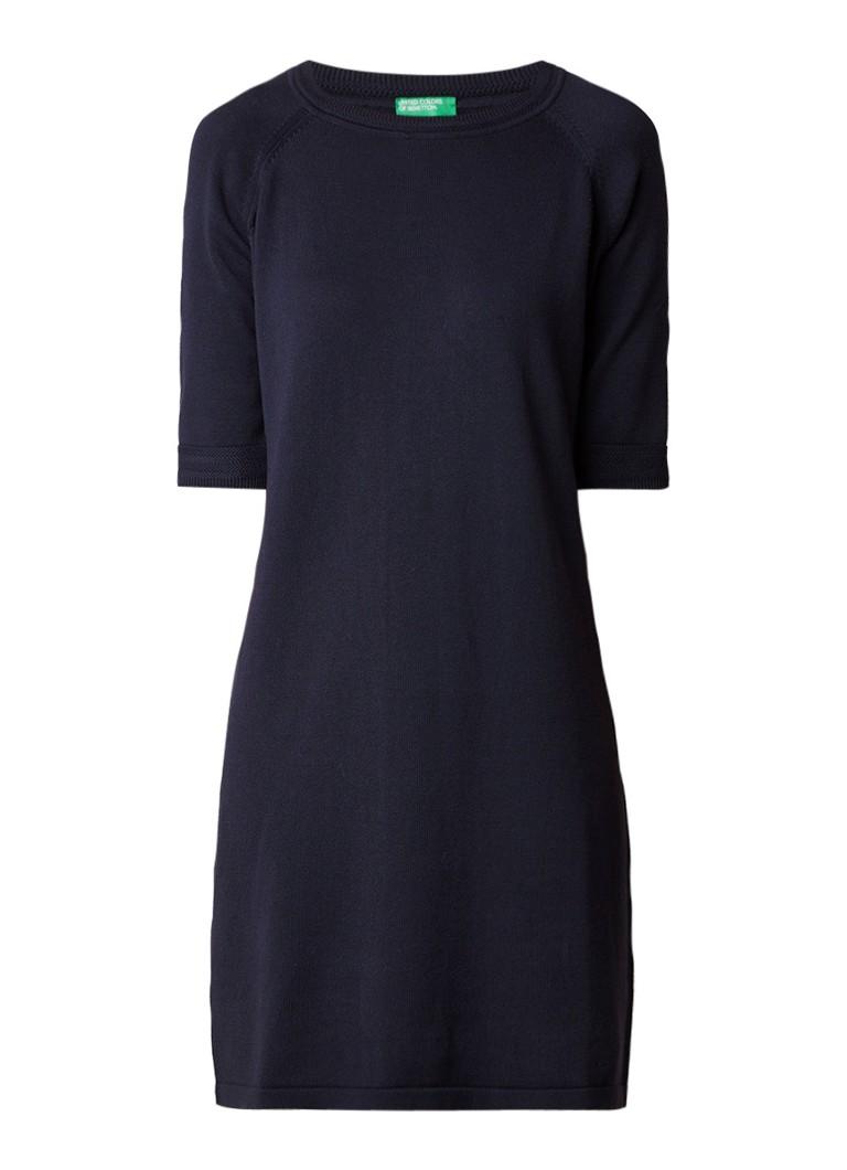 Benetton Fijngebreide midi-jurk met halflange mouw donkerblauw