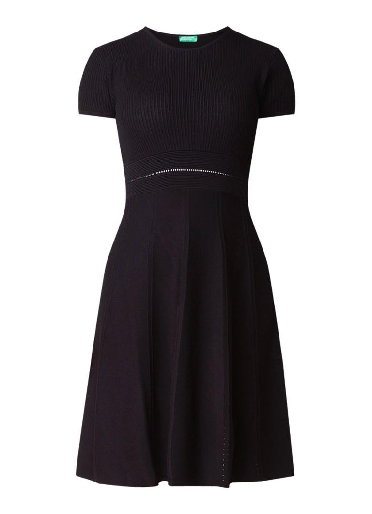 Benetton A-lijn jurk met ingebreid dessin zwart