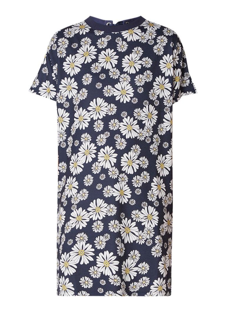 Benetton Jersey jurk met bloemendessin staalblauw