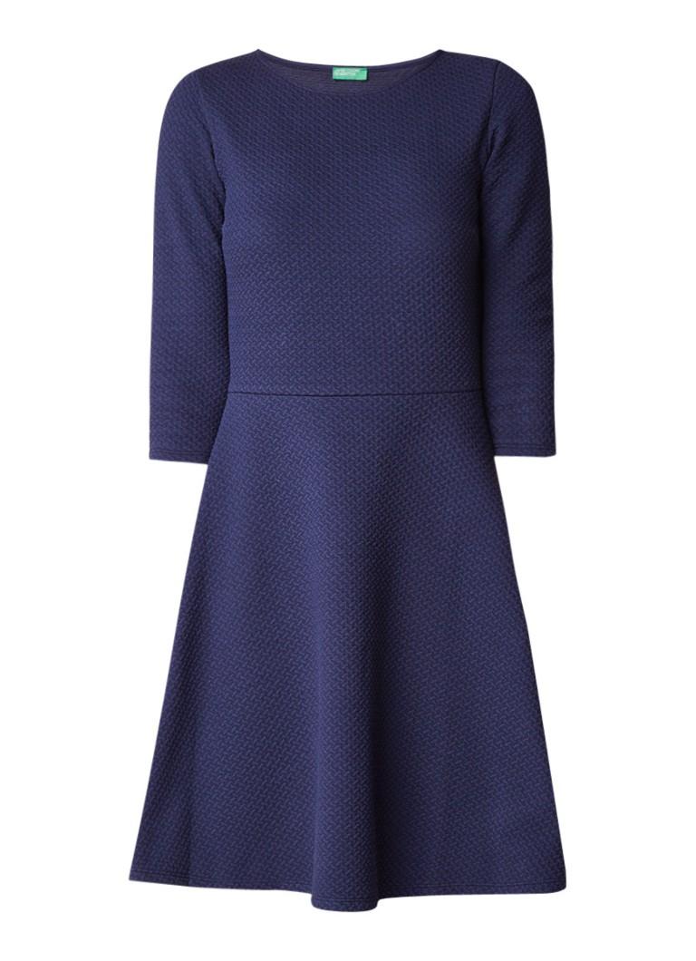 Benetton A-lijn jurk met structuur donkerblauw