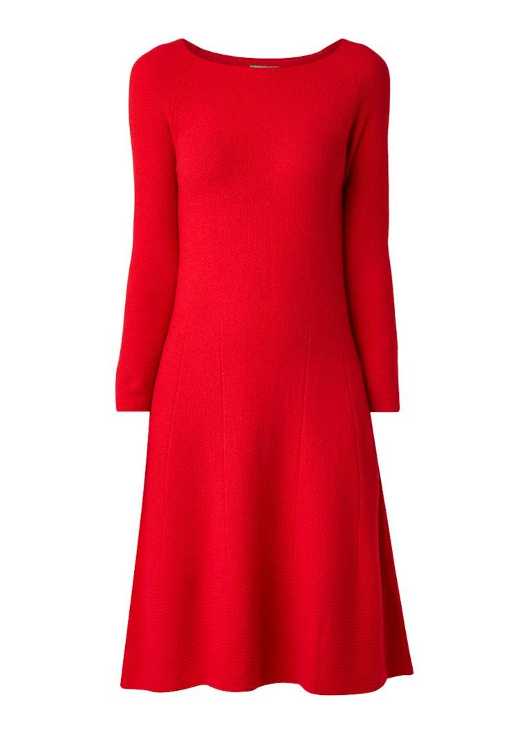 Benetton Fijngebreide midi-jurk in wolblend rood