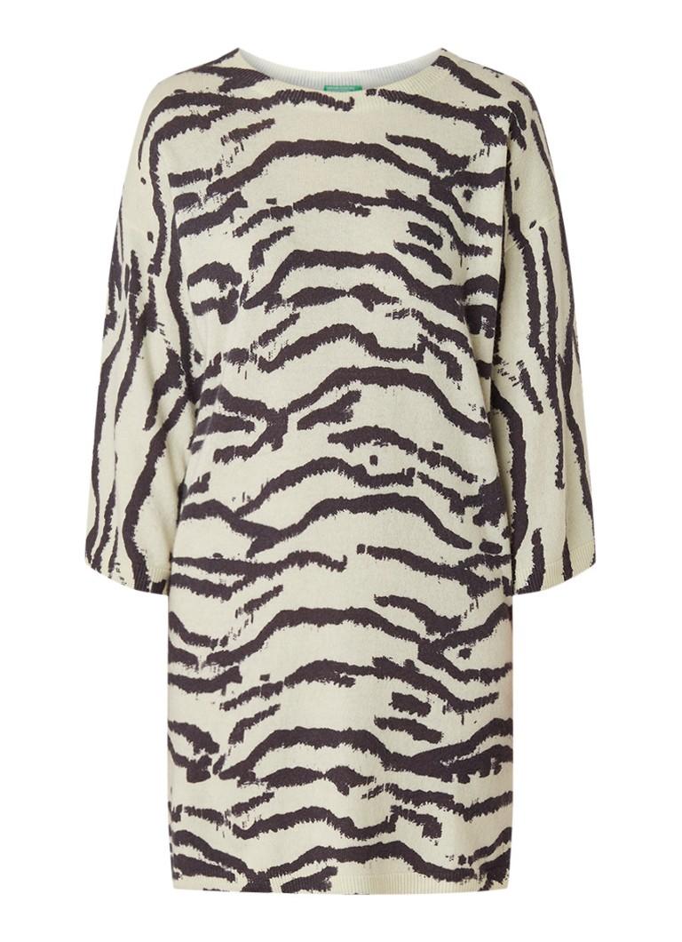 Benetton Trui-jurk in wolblend met zebraprint vanillegeel