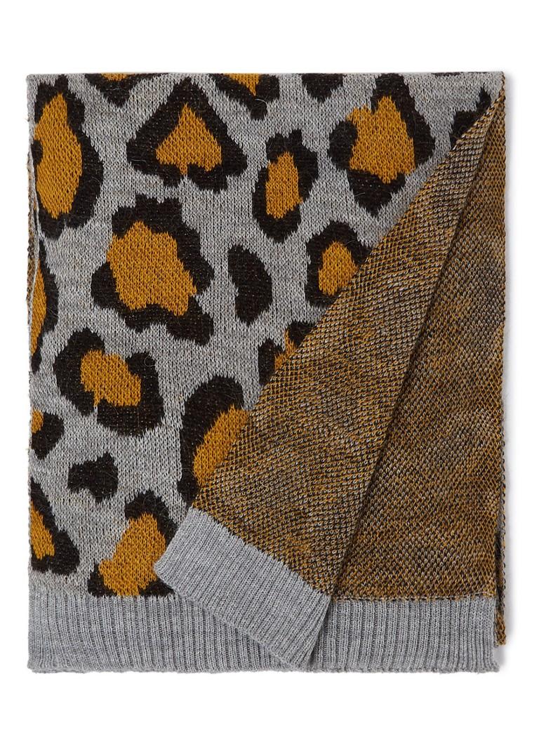 Benetton Gebreide sjaal met luipaarddessin 185 x 30 cm