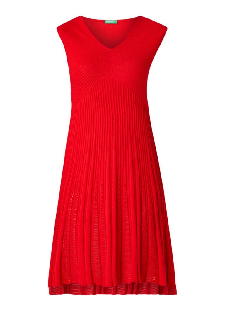 Benetton Ribgebreide midi-jurk van katoen rood