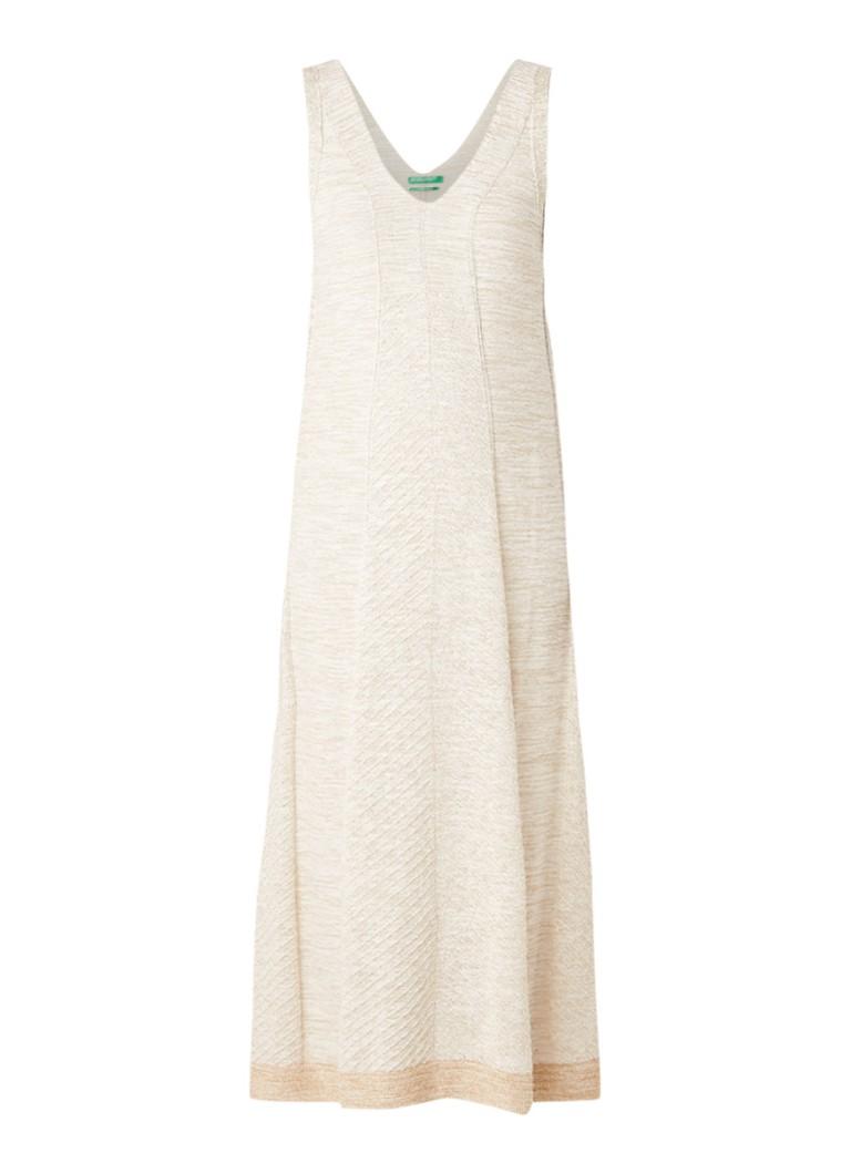 Benetton Fijngebreide midi-jurk met lurex beige