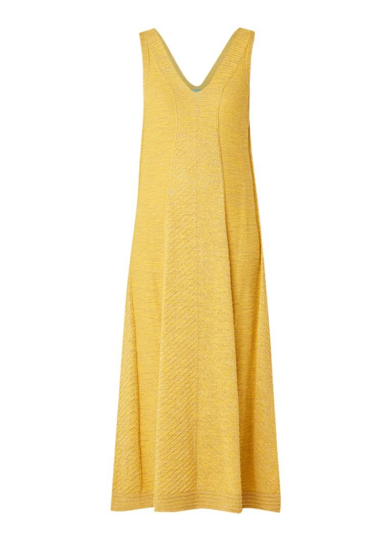 Benetton Fijngebreide midi-jurk met lurex geel