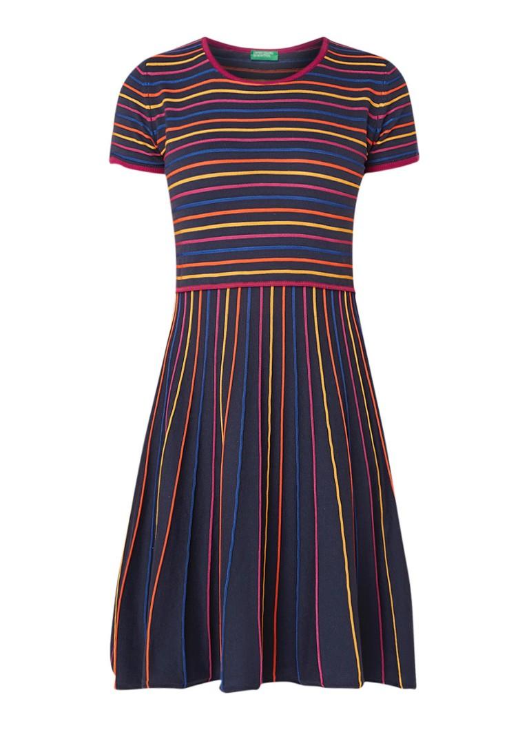 Benetton Fijngebreide A-lijn jurk met streepdessin donkerblauw