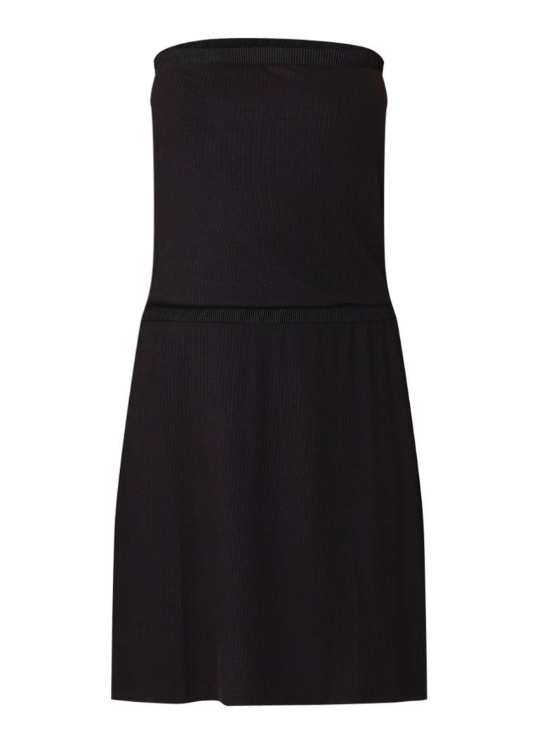 Benetton RIbgebreide off shoulder mini-jurk zwart