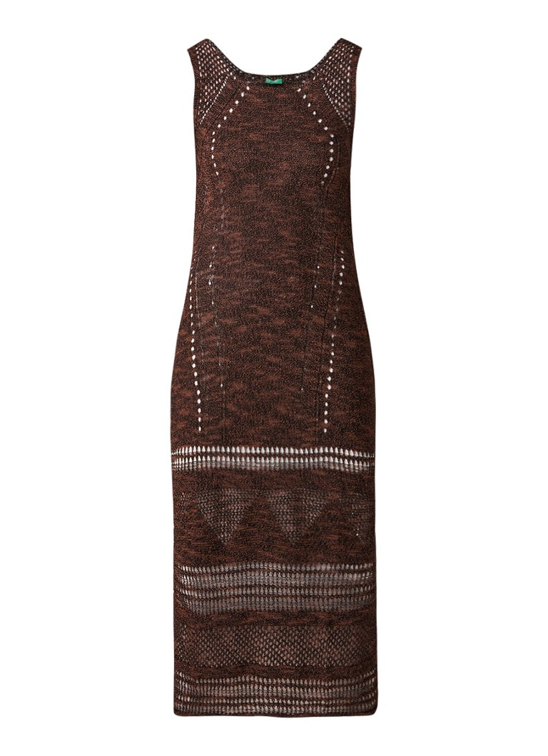 Benetton Maxi-jurk met opengewerkte details bruin