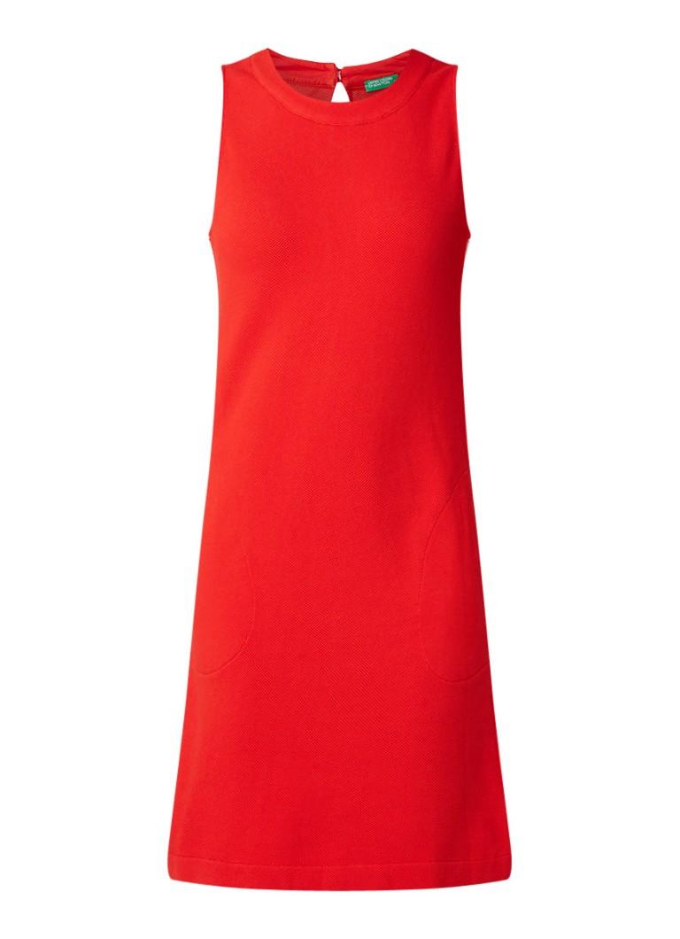 Benetton Mini-jurk met ingeweven structuur en steekzakken rood