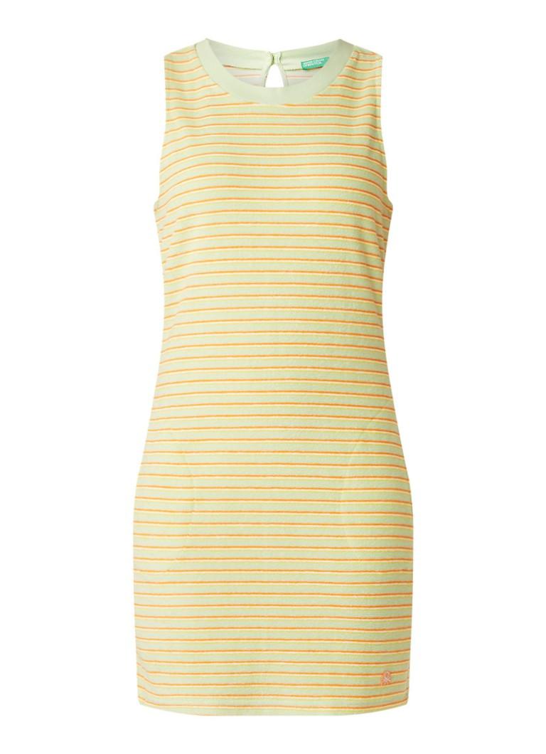 Benetton Mini-jurk van badstof met streepdessin donkergeel
