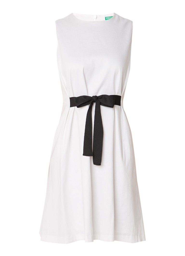 Benetton Mouwloze midi-jurk in linnenblend met strikdetail zwart