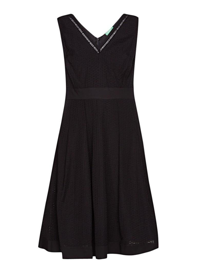 Benetton A-lijn midi-jurk met opengewerkt dessin wit