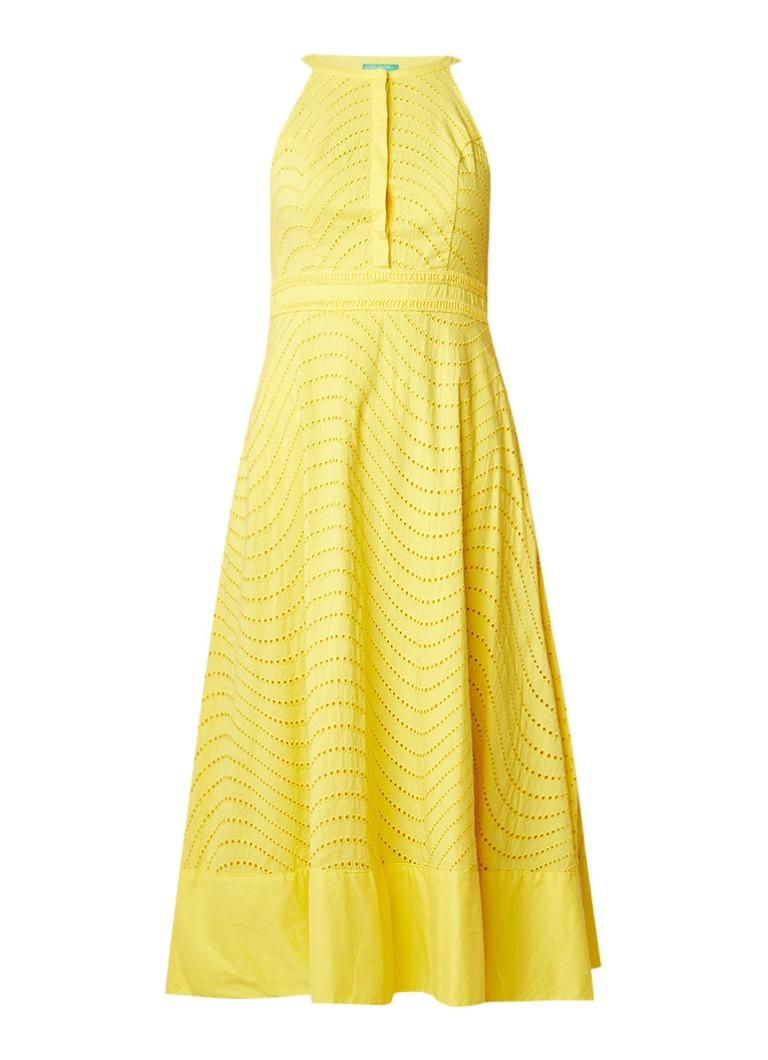 Benetton A-lijn jurk met broderie wit