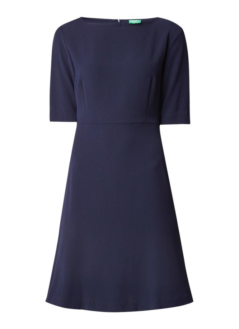 Benetton A-lijn midi-jurk met halflange mouw donkerblauw