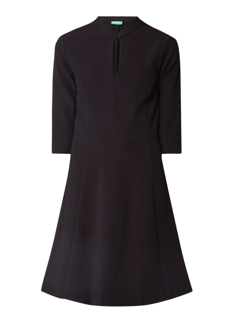 Benetton A-lijn midi-jurk met deelnaden en keyhole zwart