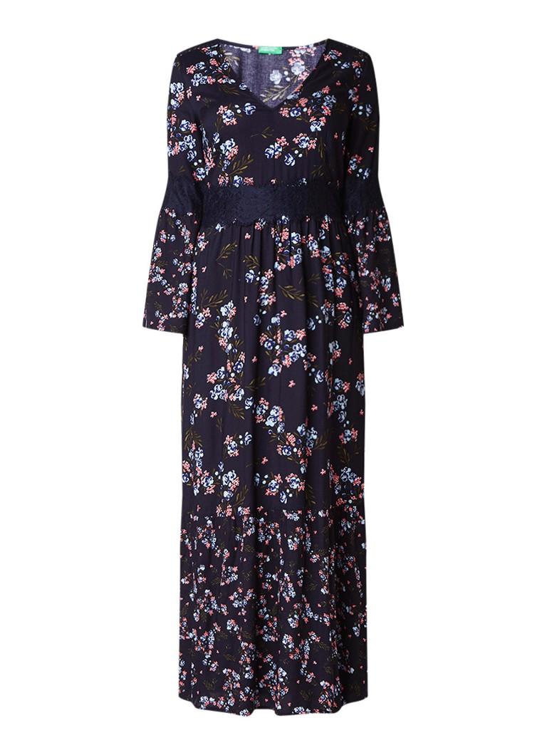 Benetton Maxi-jurk met bloemendessin en detail van kant donkerblauw