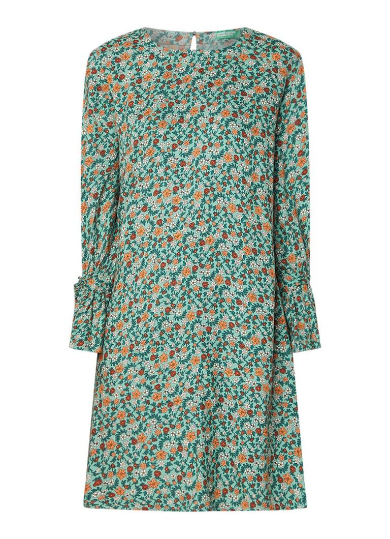 Benetton Loose fit A-lijn jurk met dessin en strikmanchet groen