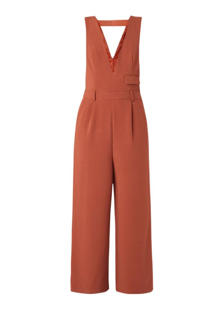 Benetton Wide fit jumpsuit met lage V-hals en rugdecolleté