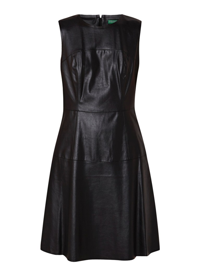 Benetton Mouwloze A-lijn midi-jurk van imitatieleer zwart