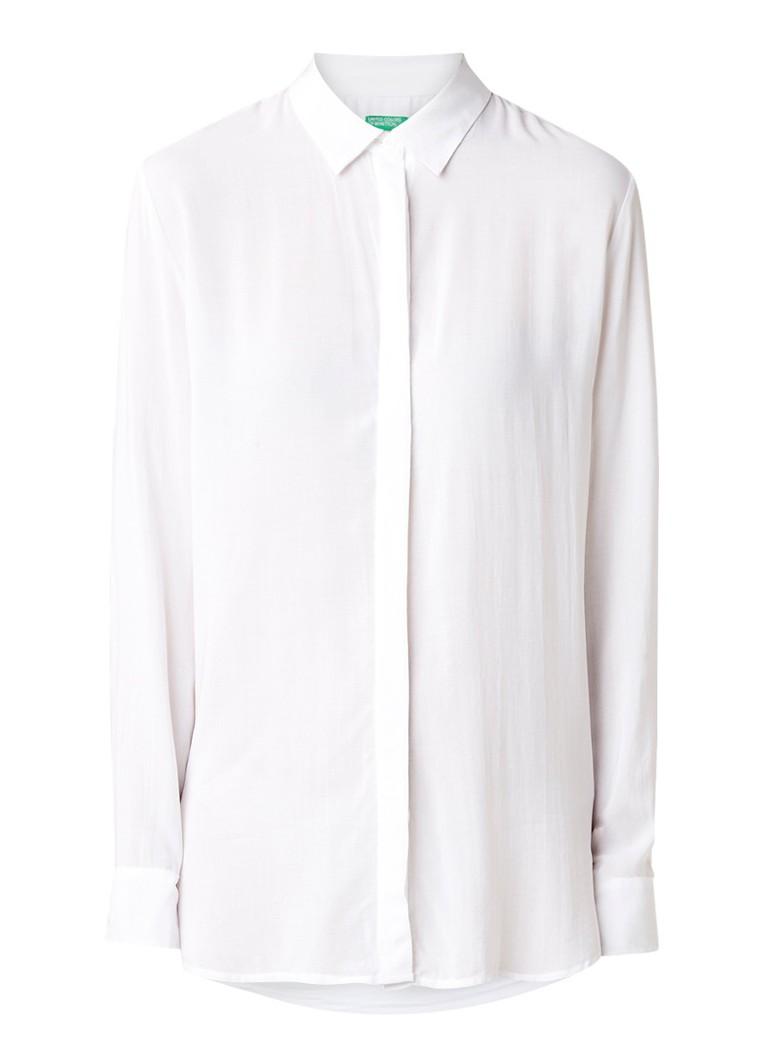 Benetton Loose fit blouse met blinde knoopsluiting