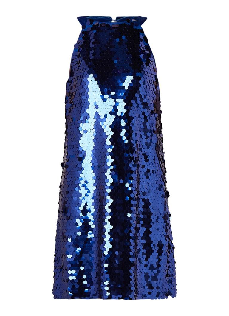 Benetton Halterjurk met pailletten en details van fluweel blauw