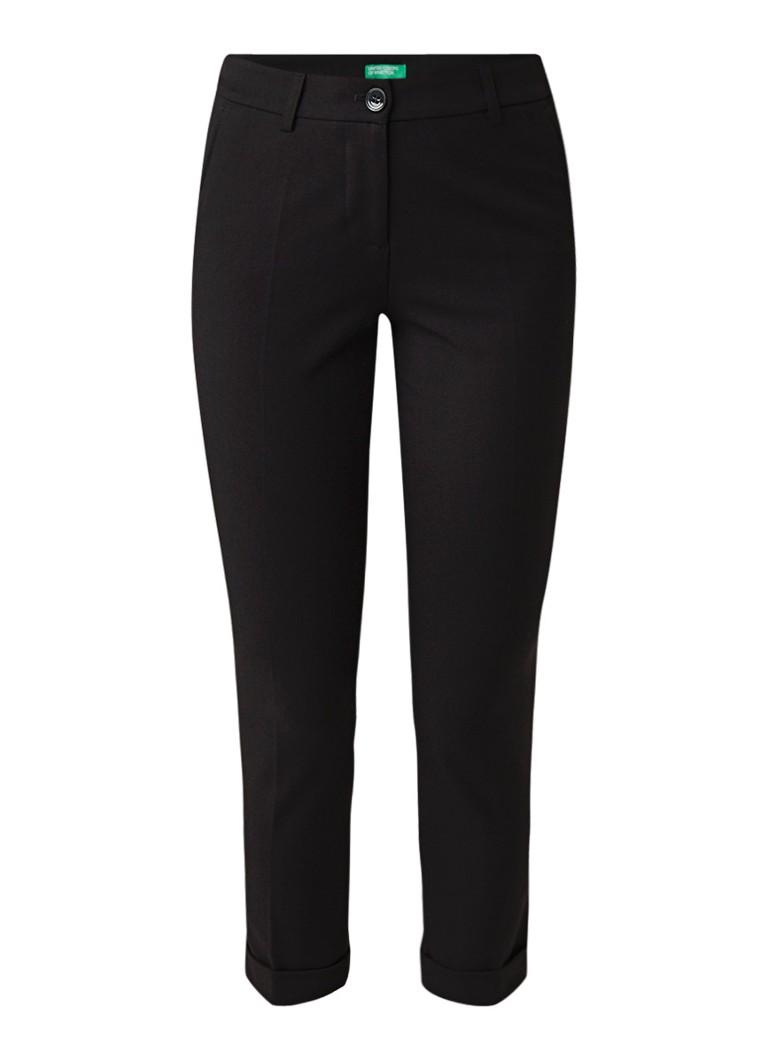 Benetton High rise cropped slim fit pantalon met omgeslagen zoom