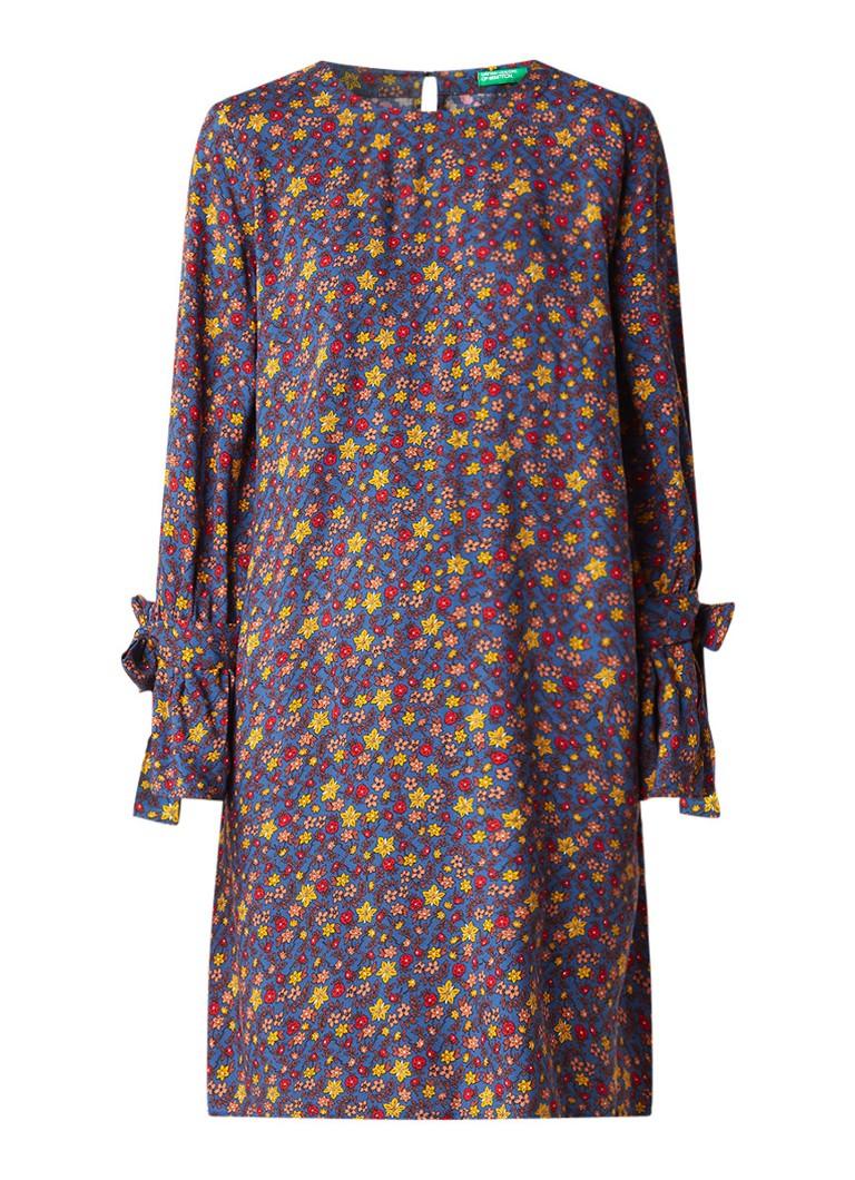 Benetton Loose fit A-lijn jurk met dessin en strikmanchet blauw