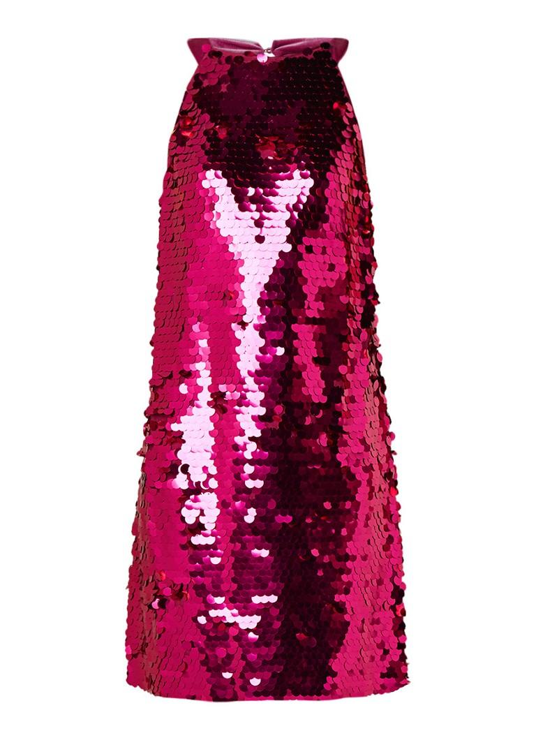 Benetton Halterjurk met pailletten en details van fluweel roze